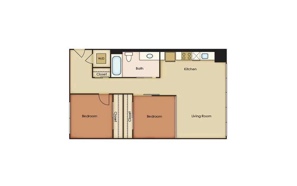 B1.2 - 2 bedroom floorplan layout with 1 bath and 874 square feet.