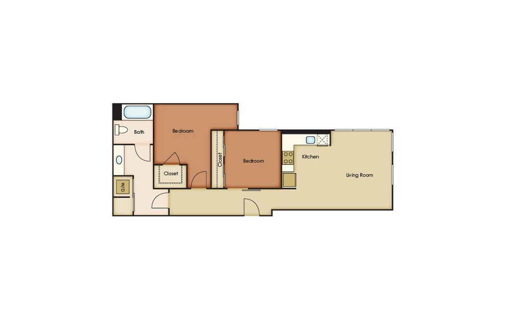 B2.1 - 2 bedroom floorplan layout with 1 bath and 835 square feet.