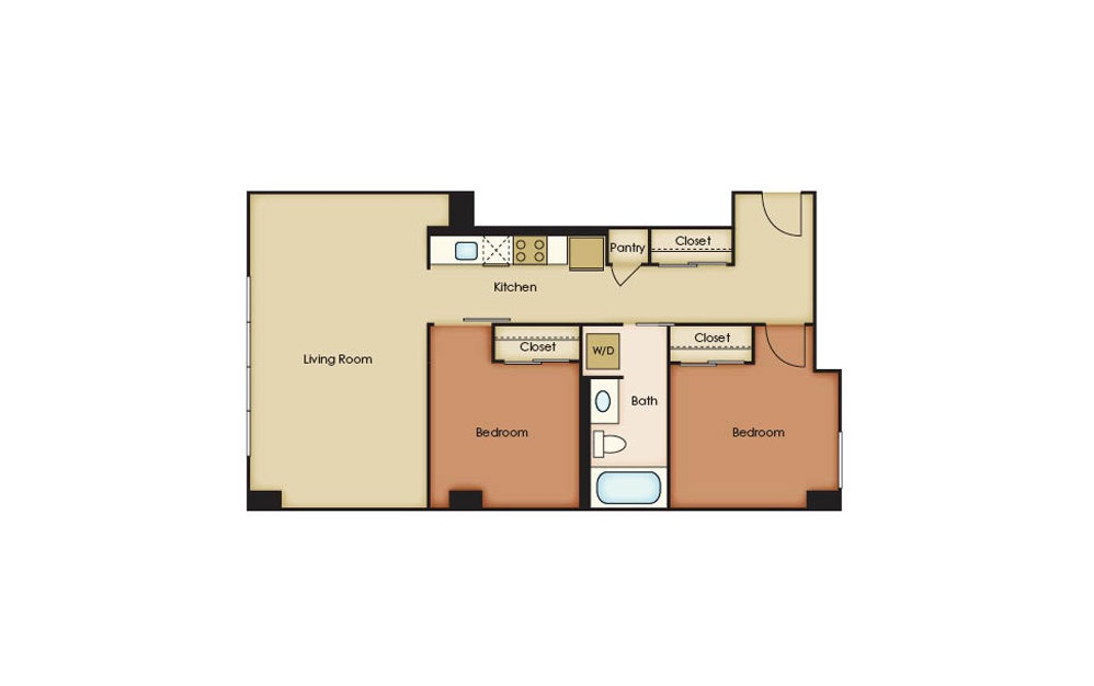 B3.1 - 2 bedroom floorplan layout with 1 bath and 852 square feet.