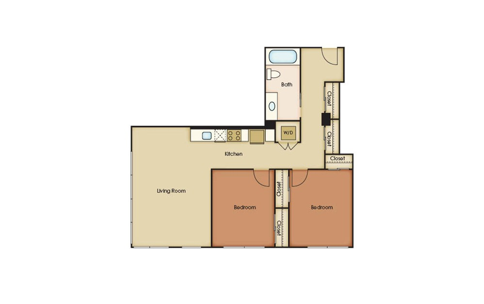 B5.2 - 2 bedroom floorplan layout with 1 bath and 934 square feet.