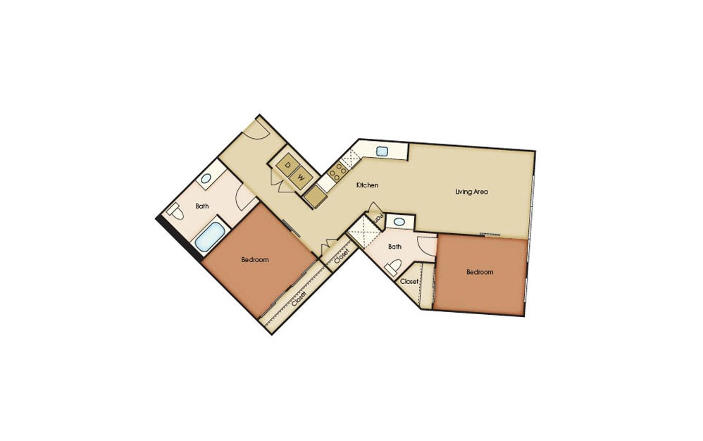B6.1 - 2 bedroom floorplan layout with 2 baths and 940 square feet.