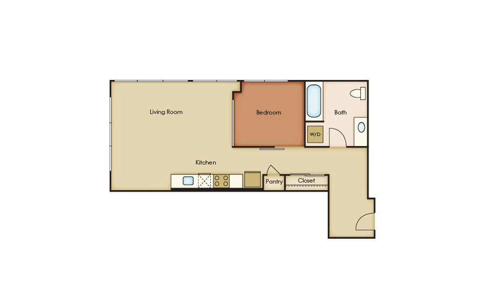 Penthouse 1 - 2 bedroom floorplan layout with 2 baths and 1049 square feet.