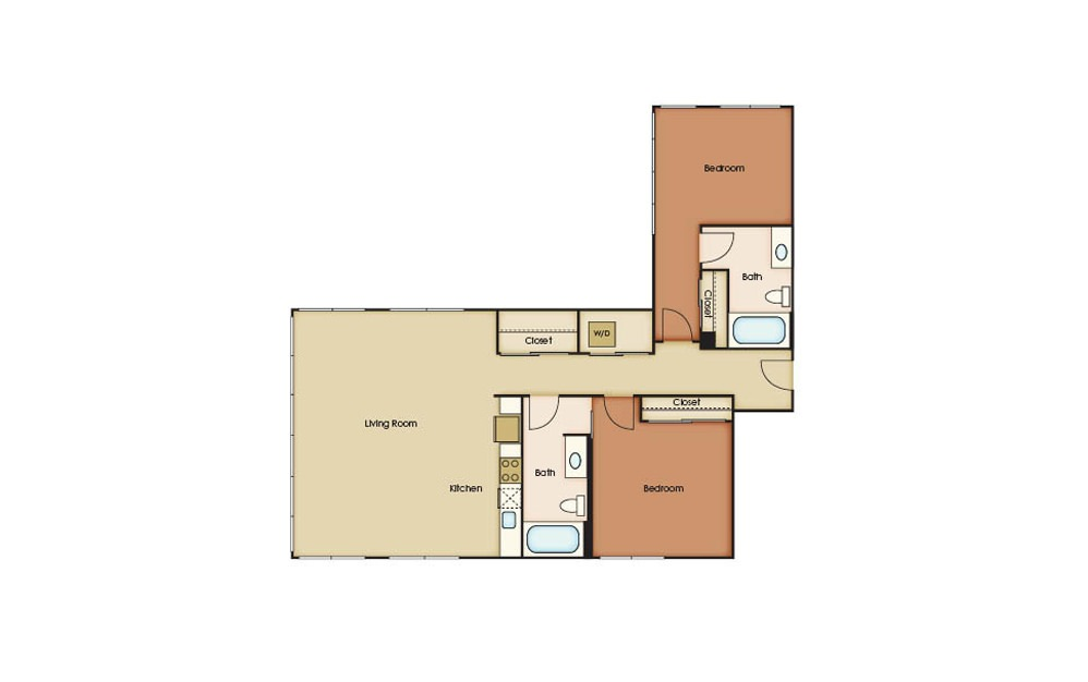Penthouse 2 - 2 bedroom floorplan layout with 2 baths and 1226 square feet.