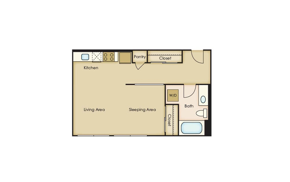 S2.1 - Studio floorplan layout with 1 bath and 511 square feet.