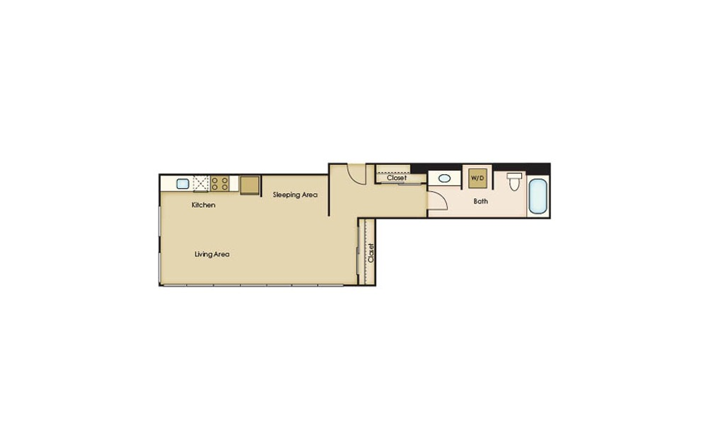 S3.1 - Studio floorplan layout with 1 bath and 540 square feet.