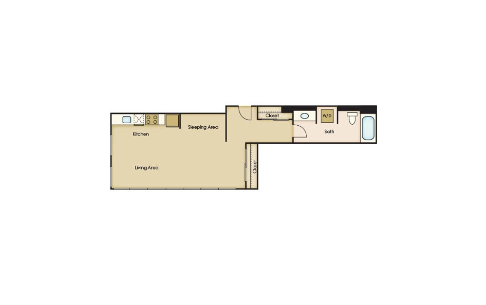 S3.2 - Studio floorplan layout with 1 bath and 541 square feet.