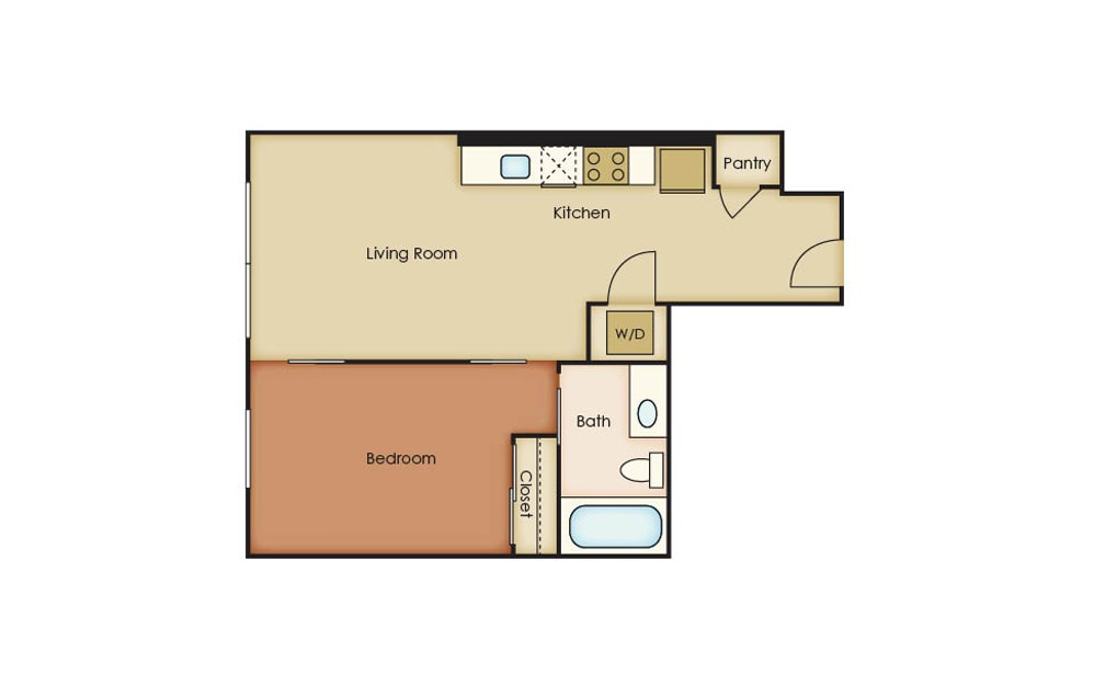 T1.1 - 1 bedroom floorplan layout with 1 bath and 562 square feet.
