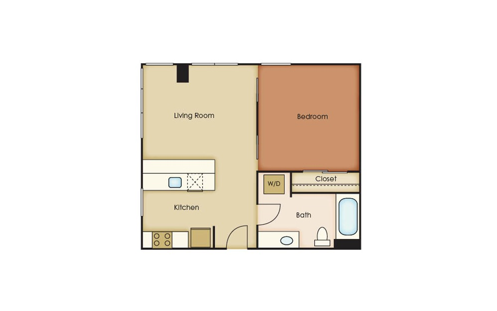 T2.2 - 1 bedroom floorplan layout with 1 bath and 584 square feet.