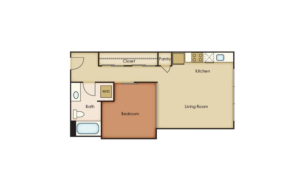 U2.1 - 1 bedroom floorplan layout with 1 bath and 566 square feet.