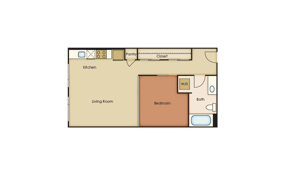 U2.5 - 1 bedroom floorplan layout with 1 bath and 604 square feet.