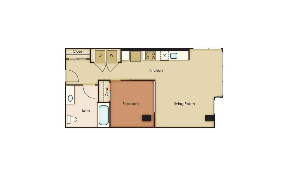 U2.7 - 1 bedroom floorplan layout with 1 bath and 627 square feet.