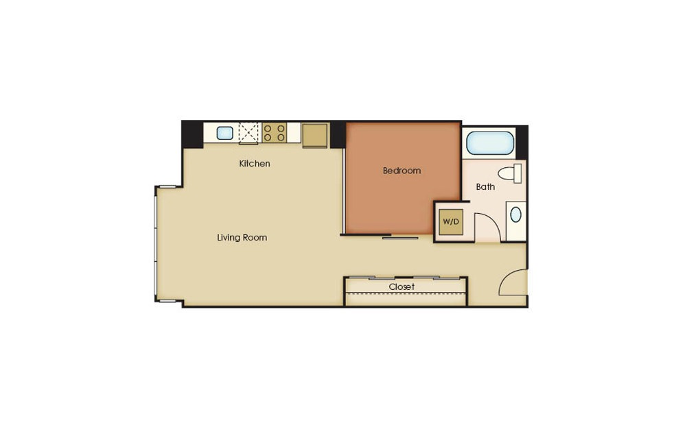 U2.8 - 1 bedroom floorplan layout with 1 bath and 628 square feet.