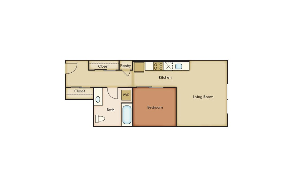 U3.1 - 1 bedroom floorplan layout with 1 bath and 575 square feet.