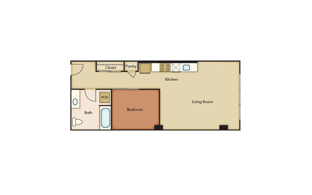 U3.10 - 1 bedroom floorplan layout with 1 bath and 581 square feet.