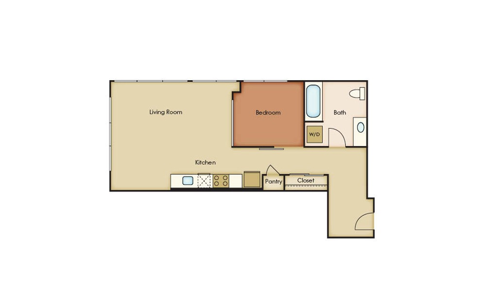 U3.11 - 1 bedroom floorplan layout with 1 bath and 695 square feet.
