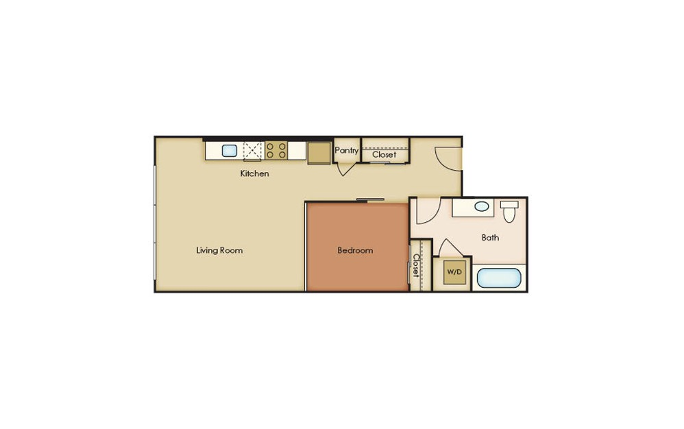 U3.3 - 1 bedroom floorplan layout with 1 bath and 583 square feet.