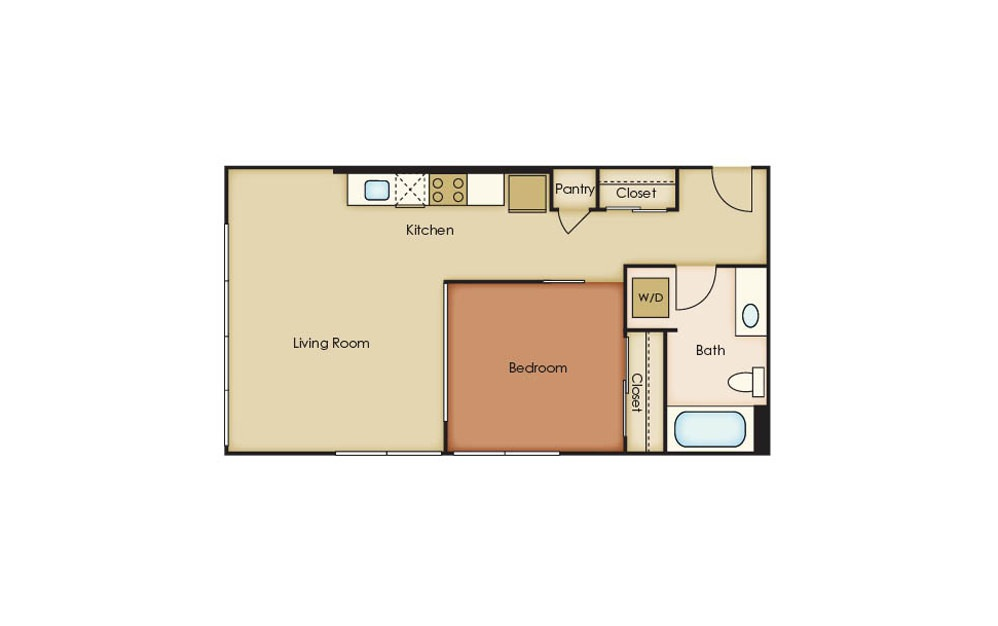 U3.4 - 1 bedroom floorplan layout with 1 bath and 624 square feet.