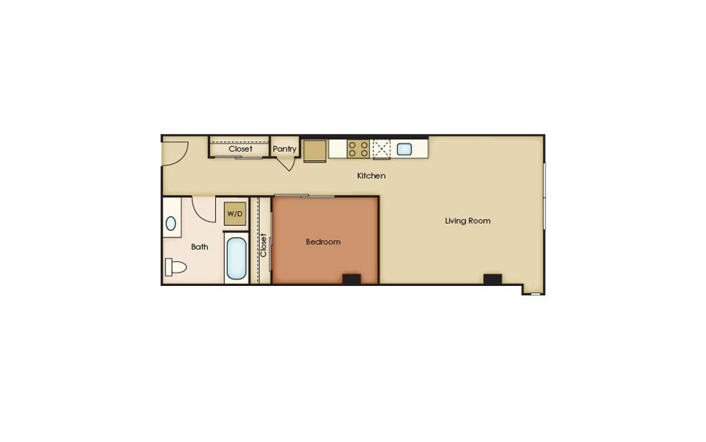 U3.7 - 1 bedroom floorplan layout with 1 bath and 651 square feet.