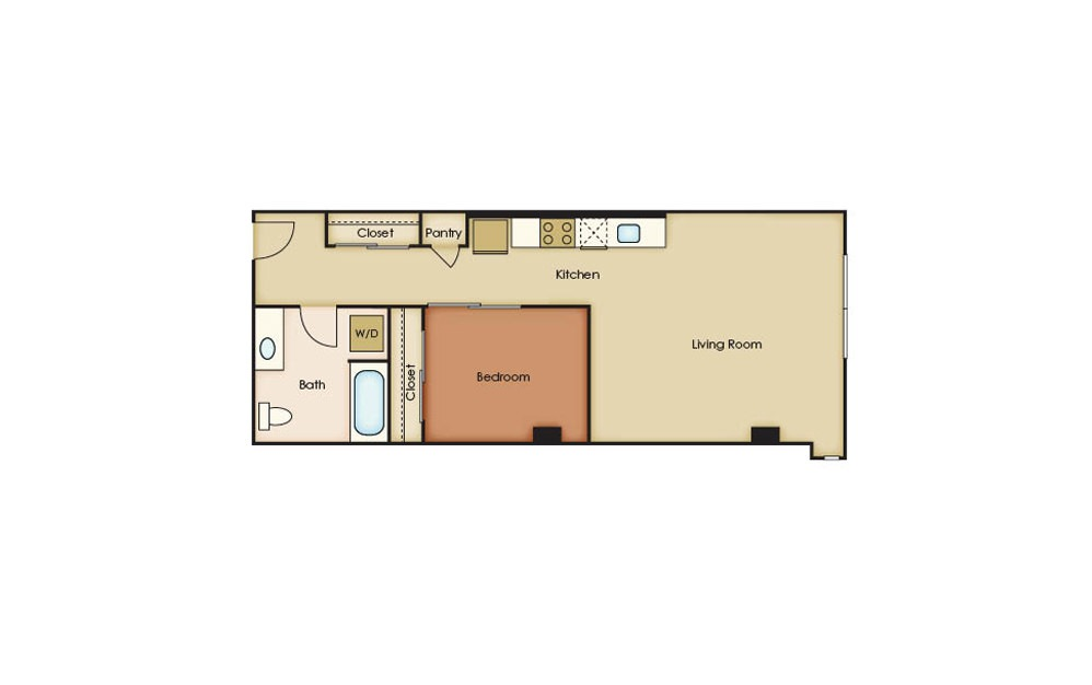U3.8 - 1 bedroom floorplan layout with 1 bath and 665 square feet.