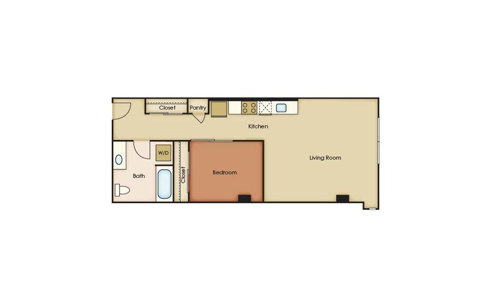 U3.9 - 1 bedroom floorplan layout with 1 bath and 663 square feet.