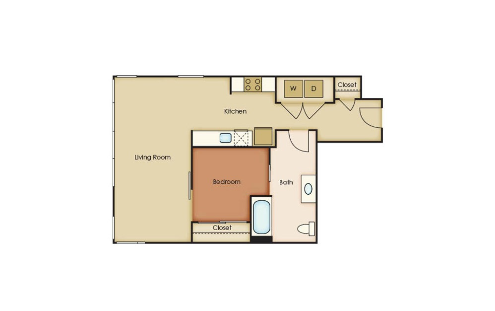 U4.1 - 1 bedroom floorplan layout with 1 bath and 690 square feet.