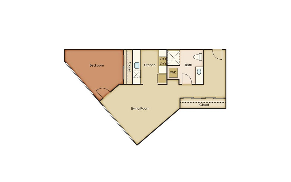 U5.1 - 1 bedroom floorplan layout with 1 bath and 899 square feet.