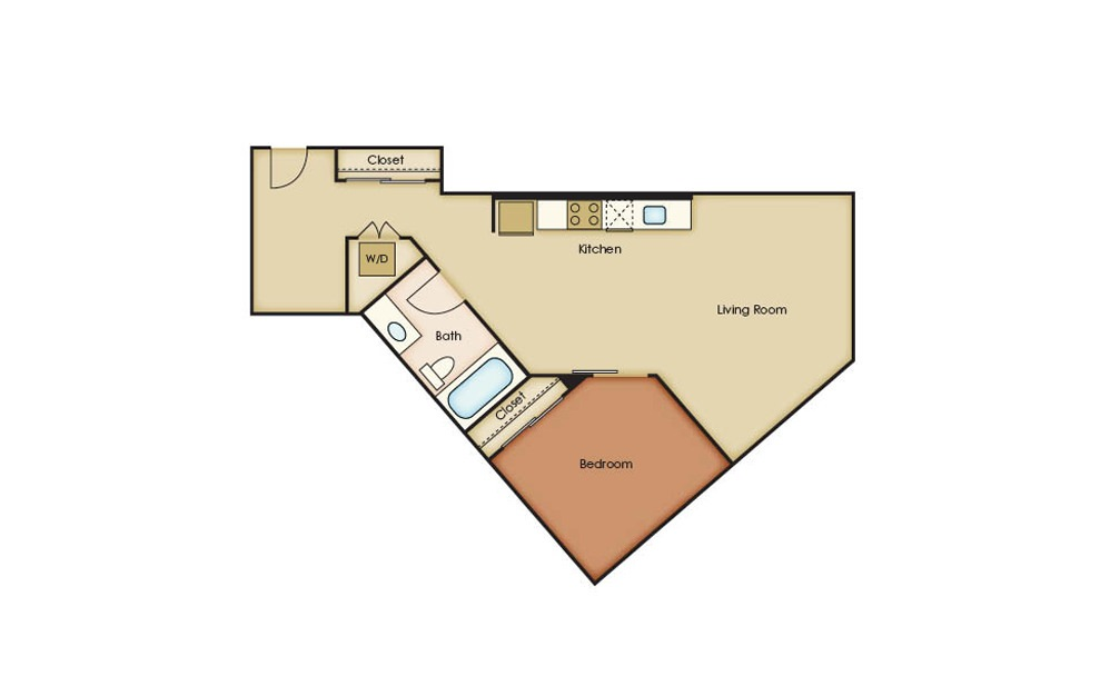 U6.1 - 1 bedroom floorplan layout with 1 bath and 740 square feet.