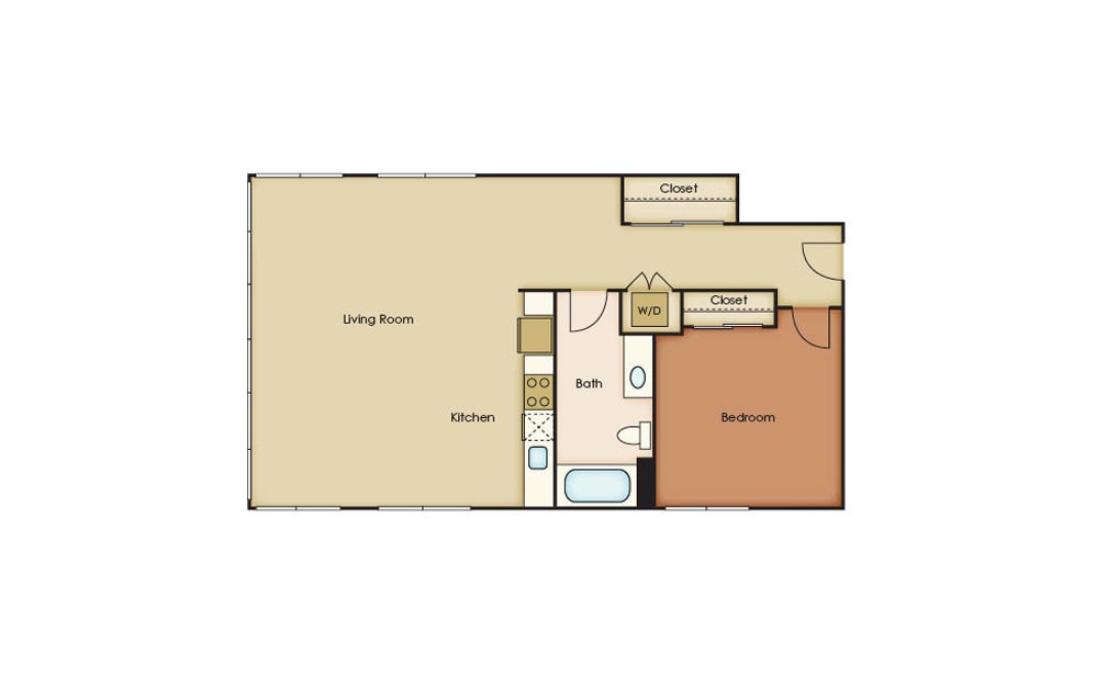 T5.1 - 1 bedroom floorplan layout with 1 bath and 899 square feet.