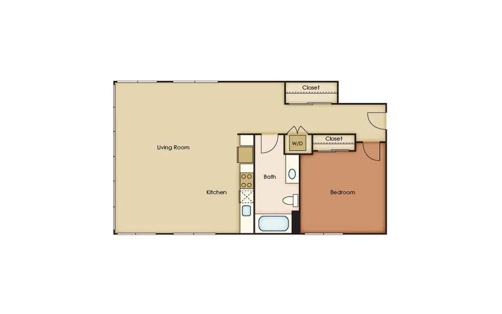 T5.2 - 1 bedroom floorplan layout with 1 bath and 903 square feet.